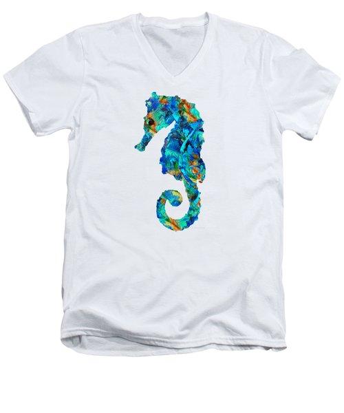 Blue Seahorse Art By Sharon Cummings Men's V-Neck T-Shirt by Sharon Cummings