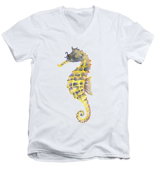 Blue Yellow Seahorse - Vertical Men's V-Neck T-Shirt by Amy Kirkpatrick