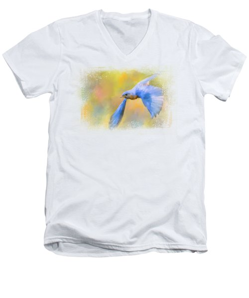 Bluebird Spring Flight Men's V-Neck T-Shirt by Jai Johnson