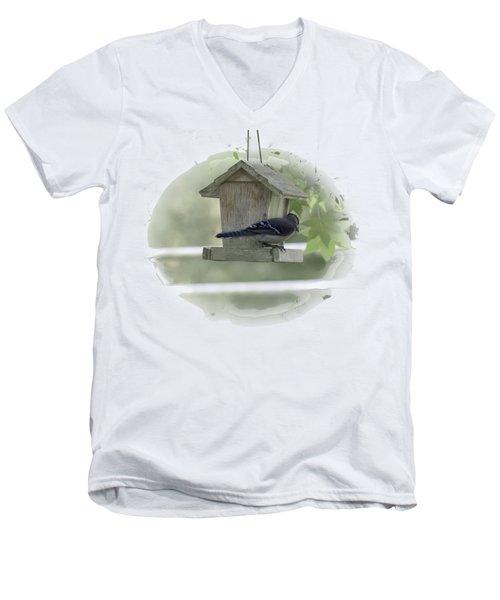 Bluejay Men's V-Neck T-Shirt by Judy Hall-Folde