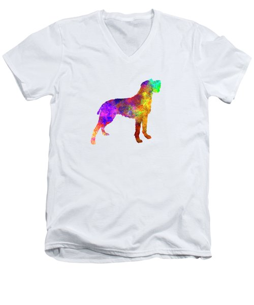 Bohemian Wirehaired Pointing Griffon In Watercolor Men's V-Neck T-Shirt by Pablo Romero