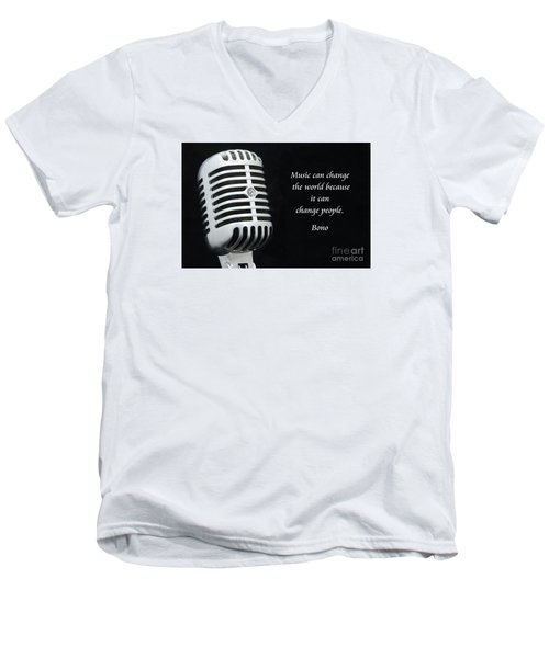 Bono On Music Men's V-Neck T-Shirt by Paul Ward