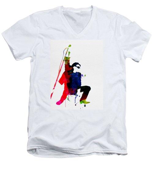 Bono Watercolor Men's V-Neck T-Shirt by Naxart Studio