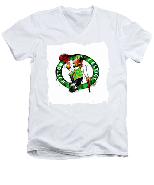 Boston Celtics 2b Men's V-Neck T-Shirt by Brian Reaves