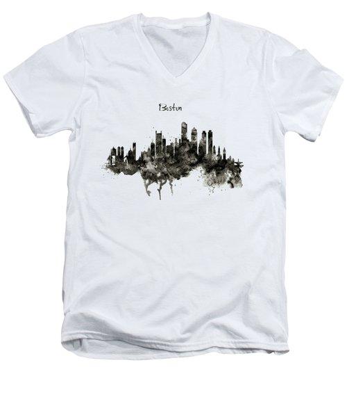 Boston Skyline Black And White Men's V-Neck T-Shirt by Marian Voicu