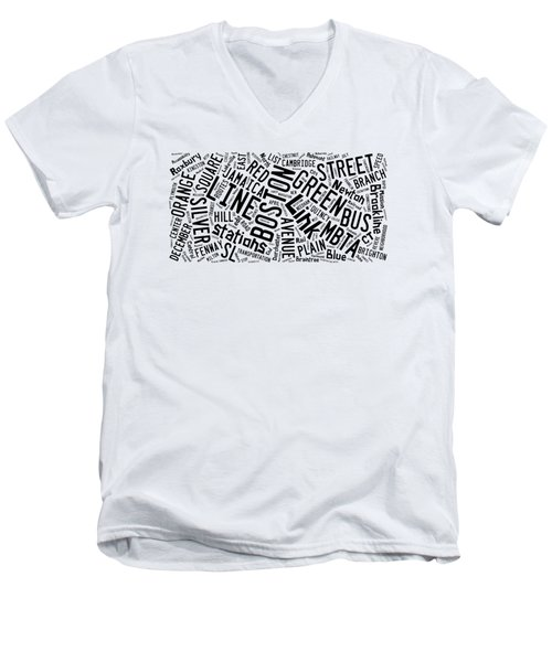 Boston Subway Or T Stops Word Cloud Men's V-Neck T-Shirt by Edward Fielding