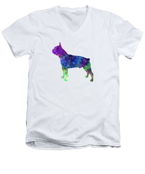 Boston Terrier 02 In Watercolor Men's V-Neck T-Shirt by Pablo Romero