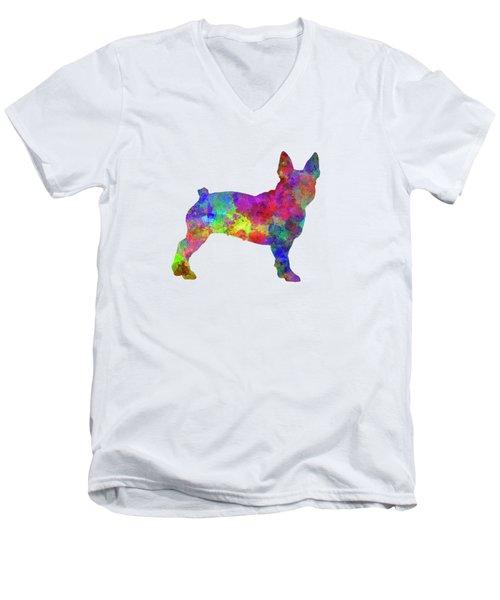 Boston Terrier 01 In Watercolor Men's V-Neck T-Shirt by Pablo Romero