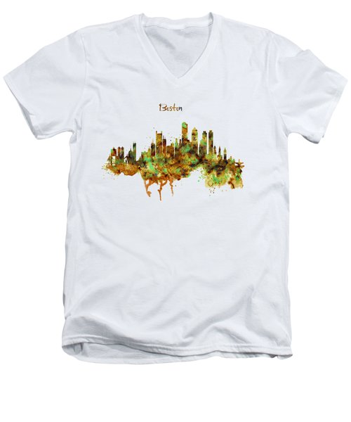 Boston Watercolor Skyline Men's V-Neck T-Shirt by Marian Voicu