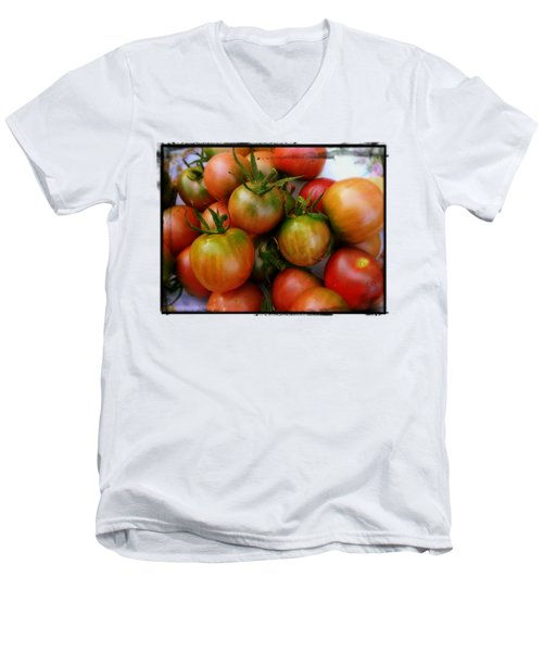 Bowl Of Heirloom Tomatoes Men's V-Neck T-Shirt by Kathy Barney