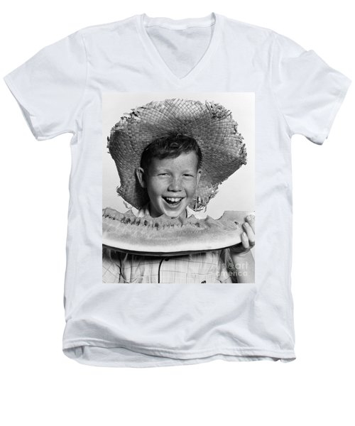 Boy Eating Watermelon, C.1940-50s Men's V-Neck T-Shirt by H. Armstrong Roberts/ClassicStock