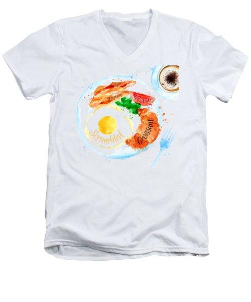 Breakfast 01 Men's V-Neck T-Shirt by Aloke Design