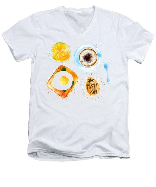 Breakfast 02 Men's V-Neck T-Shirt by Aloke Design
