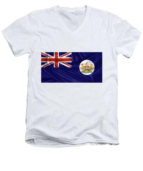 British Hong Kong Flag Men's V-Neck T-Shirt by Serge Averbukh