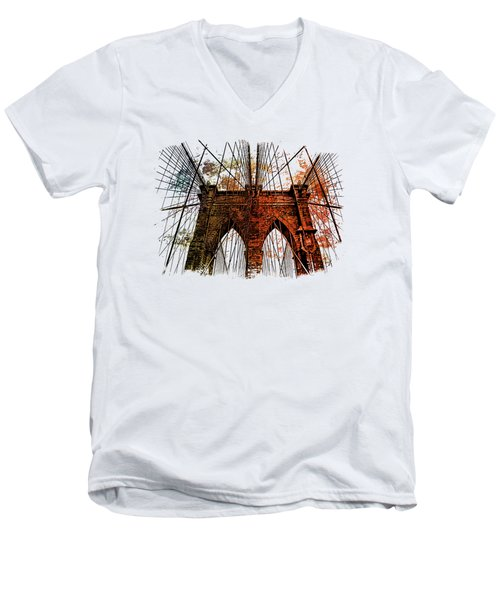 Brooklyn Bridge Art 1 Men's V-Neck T-Shirt by Di Designs