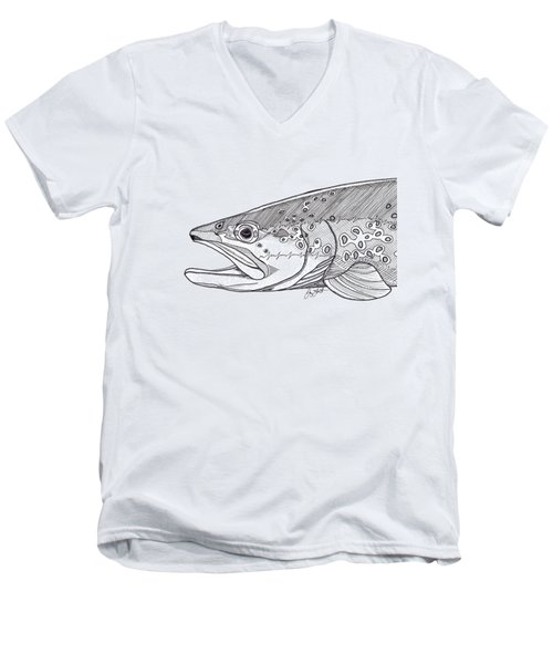 Brown Trout Men's V-Neck T-Shirt by Jay Talbot