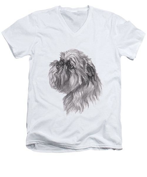 Brussels Griffon Dog Portrait  Drawing Men's V-Neck T-Shirt by I Am Lalanny