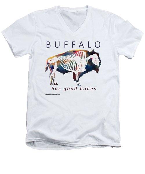 Buffalo Has Good Bones Men's V-Neck T-Shirt by Marybeth Cunningham