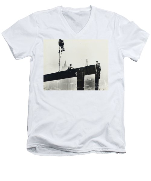 Building The Empire State Building Men's V-Neck T-Shirt by LW Hine
