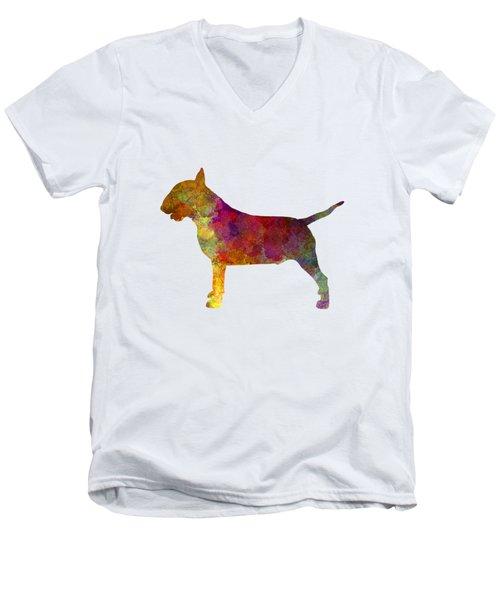 Bull Terrier In Watercolor Men's V-Neck T-Shirt by Pablo Romero