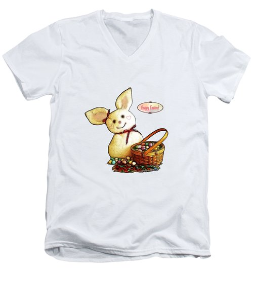 Bunny N Eggs Card Men's V-Neck T-Shirt by Methune Hively