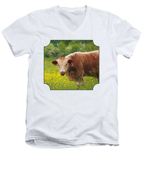 Buttercup - Brown Cow Men's V-Neck T-Shirt by Gill Billington