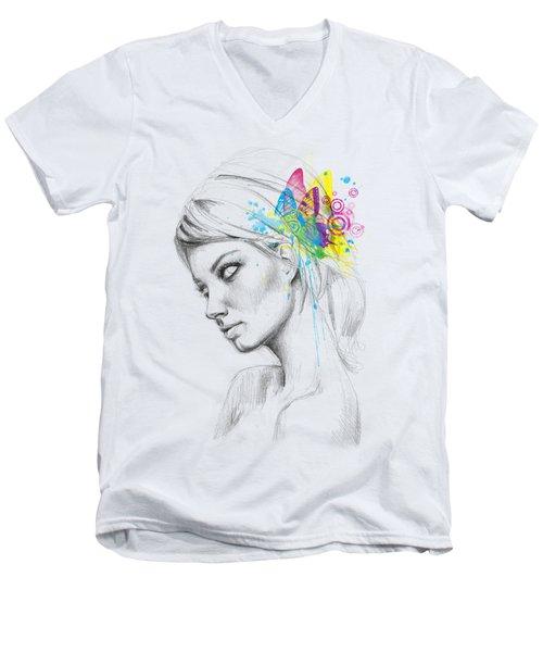 Butterfly Queen Men's V-Neck T-Shirt by Olga Shvartsur