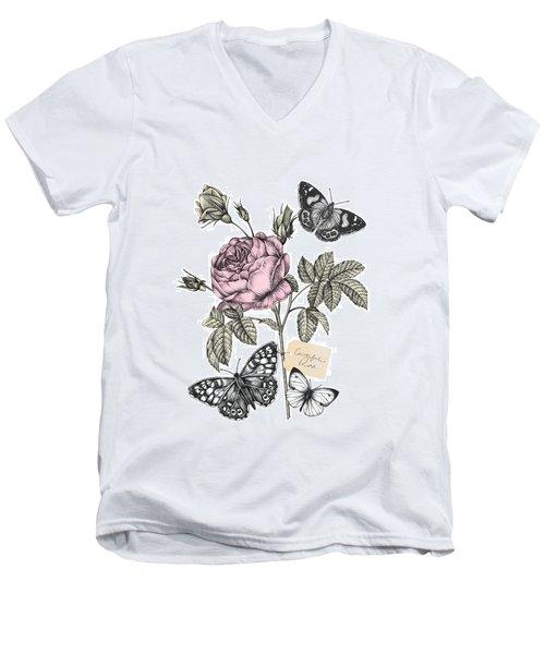 Cabbage Rose Men's V-Neck T-Shirt by Stephanie Davies