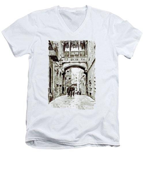 Carrer Del Bisbe - Barcelona Black And White Men's V-Neck T-Shirt by Marian Voicu