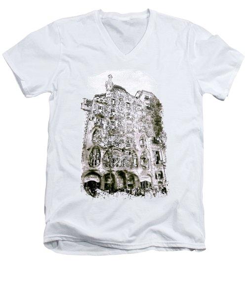 Casa Batllo Barcelona Black And White Men's V-Neck T-Shirt by Marian Voicu