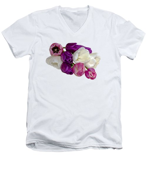 Cascading Tulips Men's V-Neck T-Shirt by Phyllis Denton