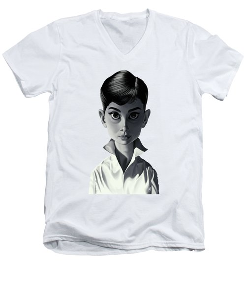 Celebrity Sunday - Audrey Hepburn Men's V-Neck T-Shirt by Rob Snow