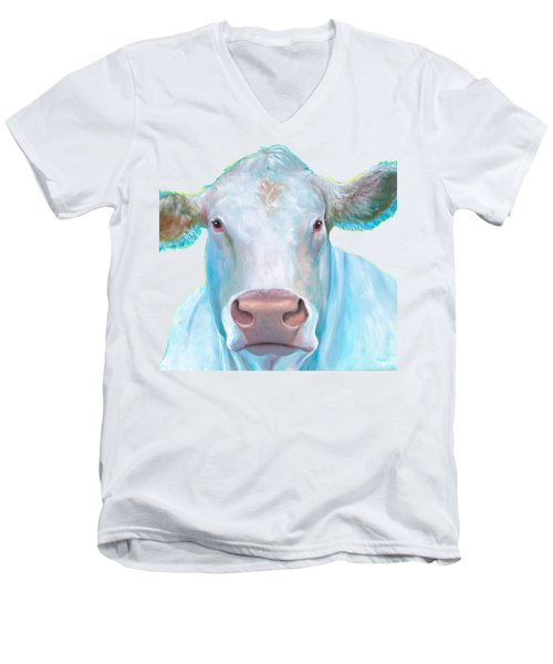 Charolais Cow Painting On White Background Men's V-Neck T-Shirt by Jan Matson