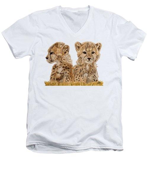 Cheetah Cubs Men's V-Neck T-Shirt by Angeles M Pomata