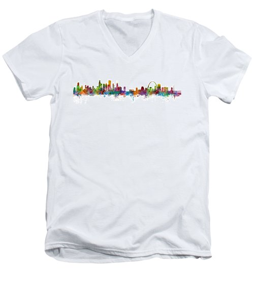 Chicago And St Louis Skyline Mashup Men's V-Neck T-Shirt by Michael Tompsett