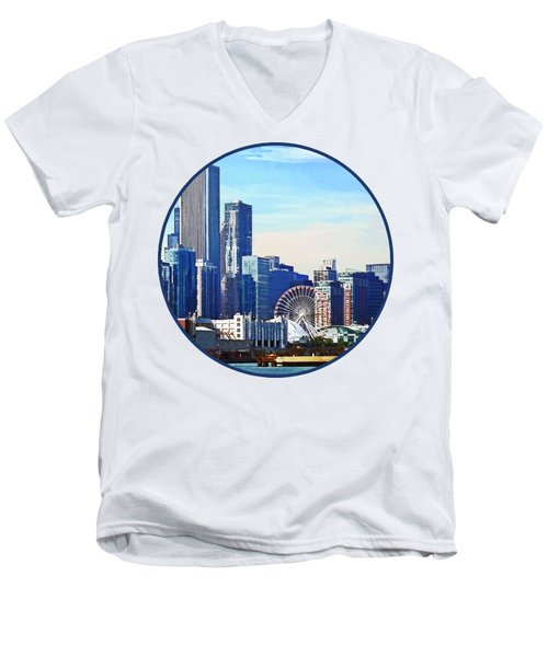 Chicago Il - Chicago Skyline And Navy Pier Men's V-Neck T-Shirt by Susan Savad