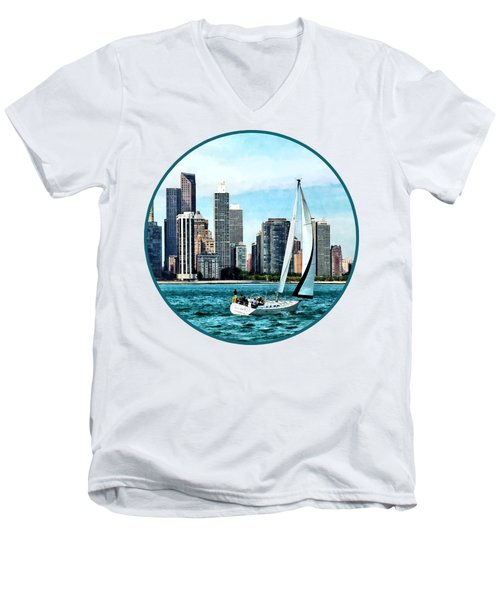 Chicago Il - Sailboat Against Chicago Skyline Men's V-Neck T-Shirt by Susan Savad