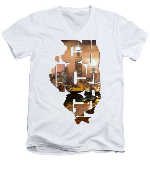 Chicago Illinois Typography - Chicago Skyline From The Rooftop Men's V-Neck T-Shirt by Gregory Ballos