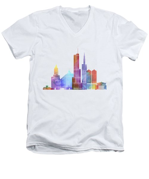 Chicago Landmarks Watercolor Poster Men's V-Neck T-Shirt by Pablo Romero