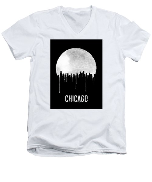 Chicago Skyline Black Men's V-Neck T-Shirt by Naxart Studio
