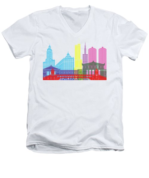 Chicago Skyline Pop Men's V-Neck T-Shirt by Pablo Romero