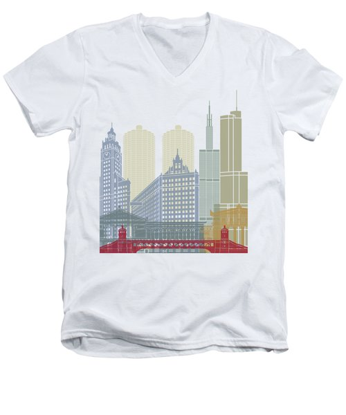 Chicago Skyline Poster Men's V-Neck T-Shirt by Pablo Romero