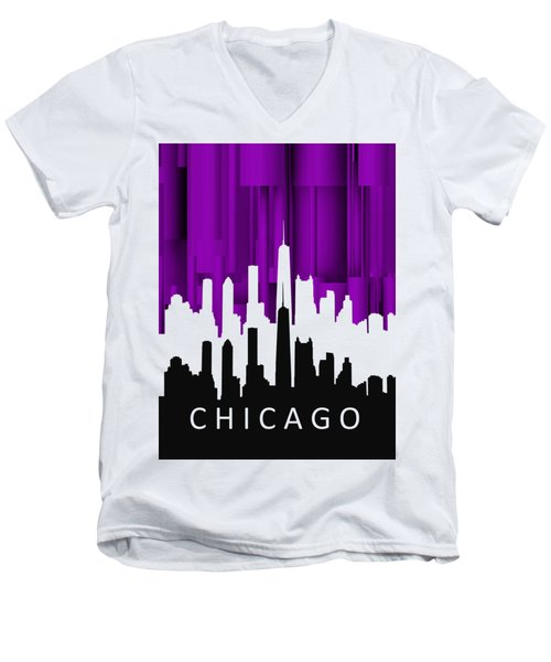 Chicago Violet In Negative Men's V-Neck T-Shirt by Alberto RuiZ