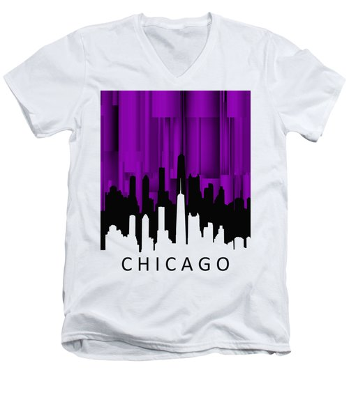 Chicago Violet Vertical  Men's V-Neck T-Shirt by Alberto RuiZ