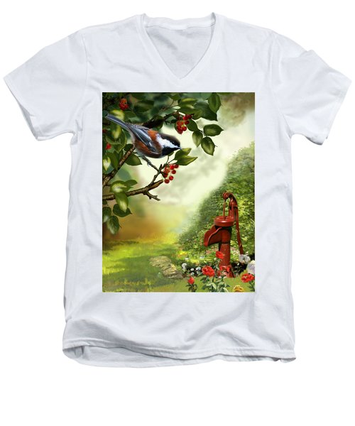 Chickadee Visiting The Water Pump Men's V-Neck T-Shirt by Regina Femrite