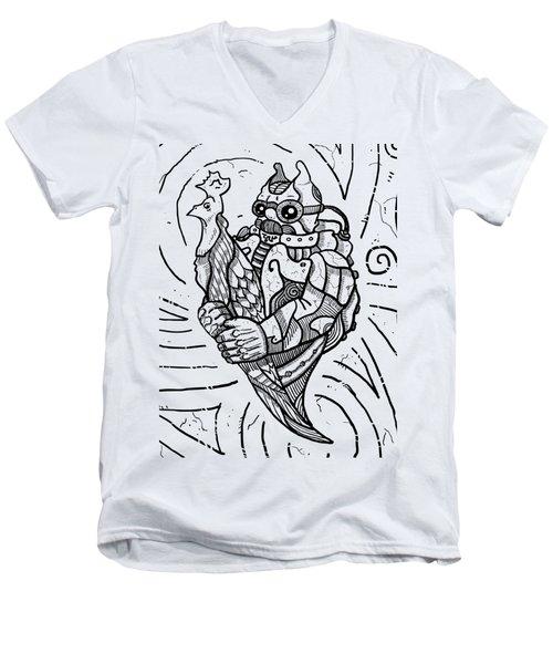 Chicken Master Men's V-Neck T-Shirt by Sotuland Art