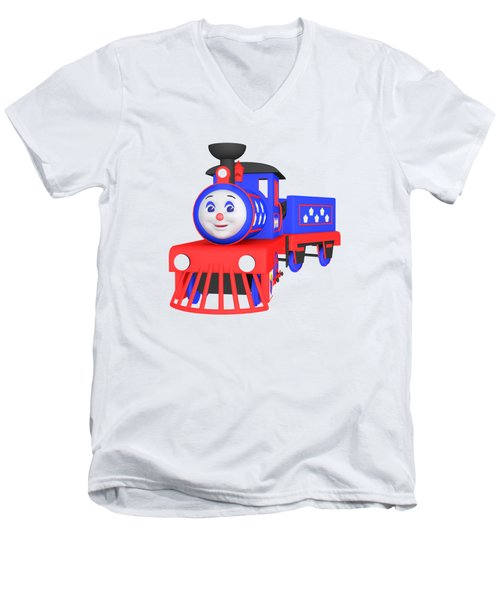Choo-choo The Train - 1 Men's V-Neck T-Shirt by Yulia Litvinova