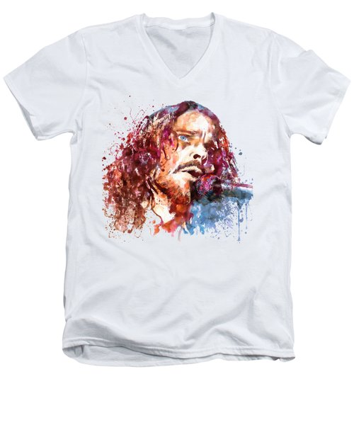 Chris Cornell Men's V-Neck T-Shirt by Marian Voicu