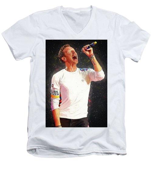 Chris Martin - Coldplay Men's V-Neck T-Shirt by Semih Yurdabak