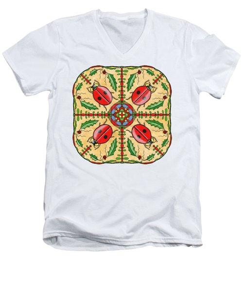 Christmas Ladybug Mandala Men's V-Neck T-Shirt by Tanya Provines